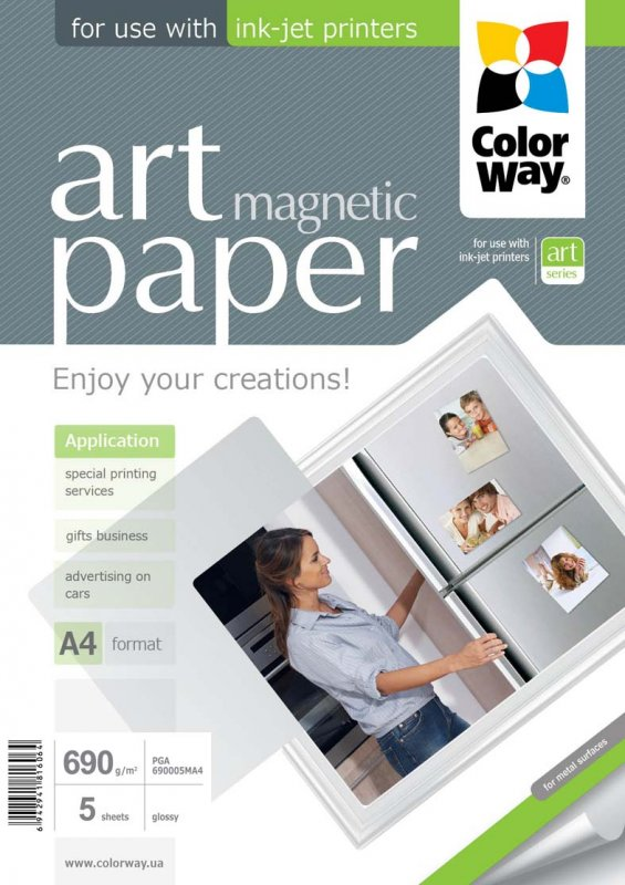 """Buy Photo paper ColorWay ART glossy """"magnetic"""" 690 g/m², A4, 5 sht"""