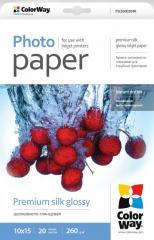Photo paper ColorWay premium silk glossy 260 g/m², 10х15, 20 sht